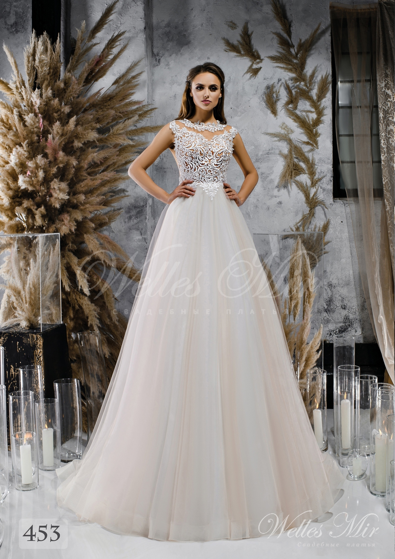 Весільна сукня А-силуету з багатошаровою спідницею з шифону оптом від WellesMir