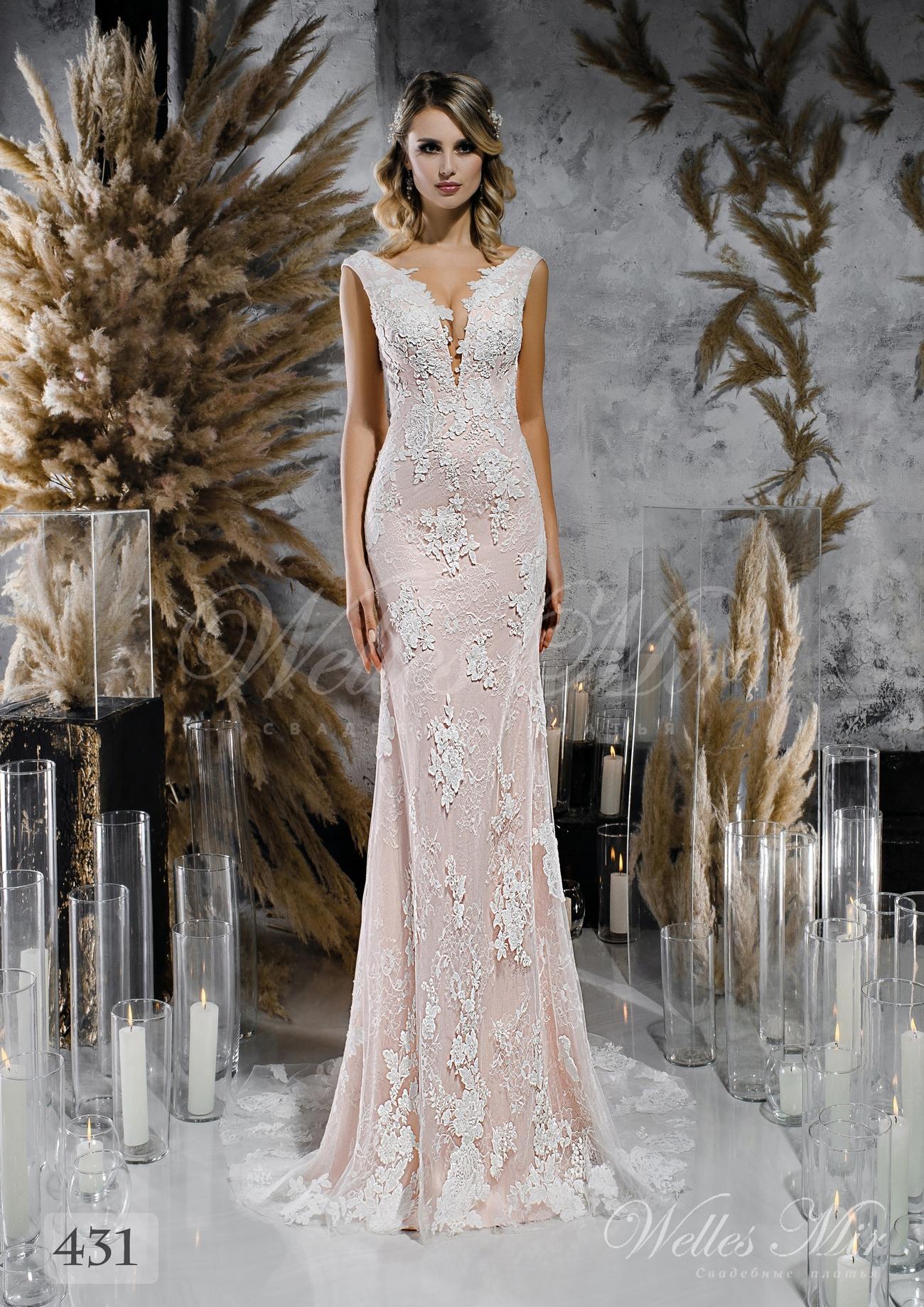 Мереживна пряма весільна сукня ніжно рожевого відтінку оптом