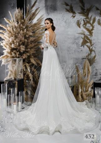 Біла весільна сукня з хвилястою спідницею оптом-2