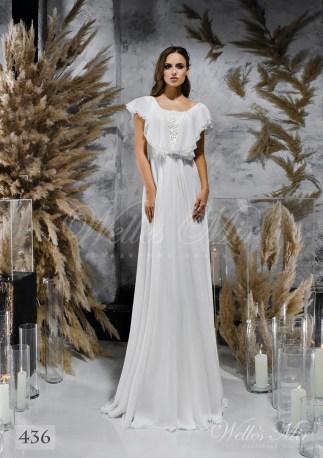 Пряма біла весільна сукня з рукавами-крильцями оптом-1