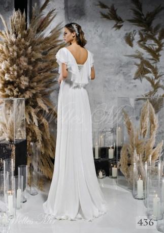 Пряма біла весільна сукня з рукавами-крильцями оптом-2