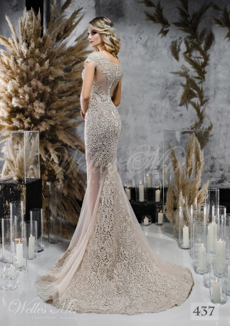 Кавова весільна сукня з мереживним шлейфом оптом-2