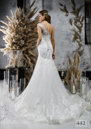 Біла весільна сукня на одне плече оптом-2