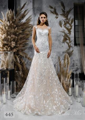 Стримана весільна сукня-годе з довгими мереживними рукавами оптом-1