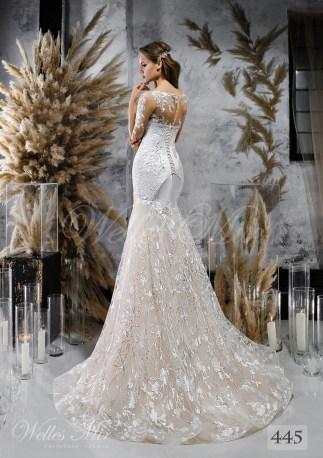 Стримана весільна сукня-годе з довгими мереживними рукавами оптом-2