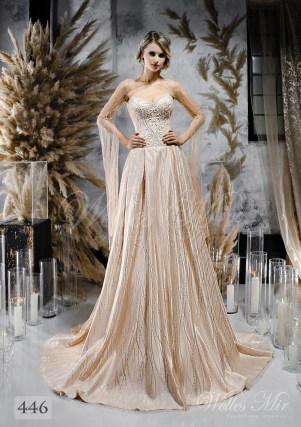 Дивовижна бежева весільна сукня з кейпом оптом-1