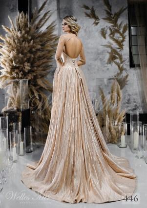 Дивовижна бежева весільна сукня з кейпом оптом-2