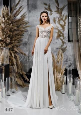 Пряма весільна сукня з мереживним корсетом оптом-1