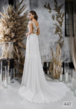 Пряма весільна сукня з мереживним корсетом оптом-2