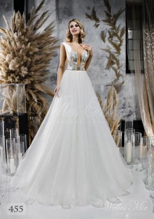 Весільну сукню з пишною спідницею і розколотим корсетом оптом від WellesMir-1