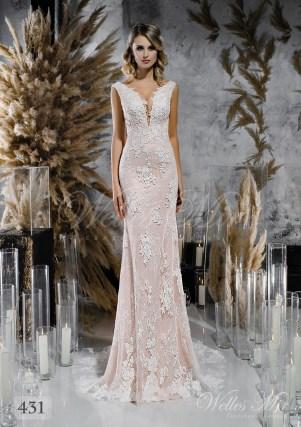 Мереживна пряма весільна сукня ніжно рожевого відтінку оптом-1