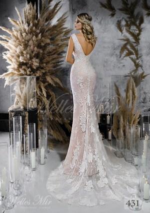 Мереживна пряма весільна сукня ніжно рожевого відтінку оптом-2