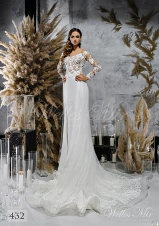 Біла весільна сукня з хвилястою спідницею оптом-1